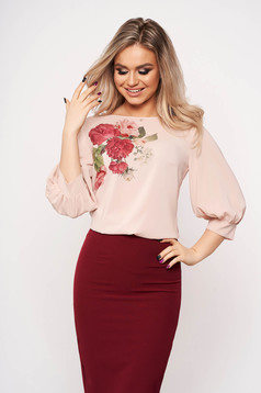Bluza dama StarShinerS roz prafuit casual eleganta cu maneci trei-sferturi din voal cu imprimeu floral
