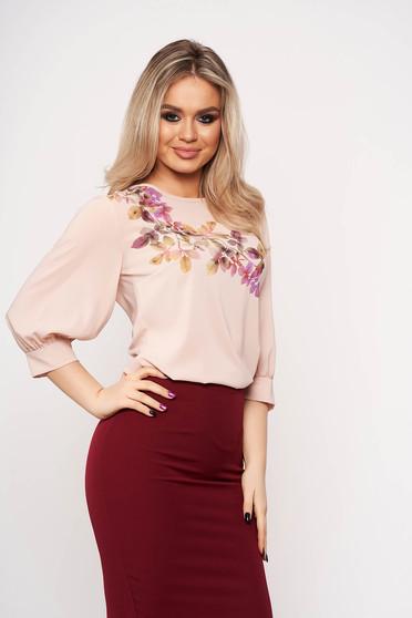 Bluza dama StarShinerS roz prafuit casual eleganta cu imprimeuri florale si maneci trei-sferturi