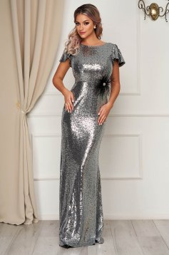 StarShinerS silver occasional mermaid dress dress with tented cut with sequins short sleeves long evening dresses short sleeve mermaid cut