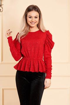 Bluza dama Artista rosie scurta de ocazie cu peplum cu maneci lungi si umeri cu volum