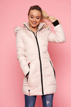 Jacket cream slicker fabric zipper fastening with pockets midi with furry hood casual
