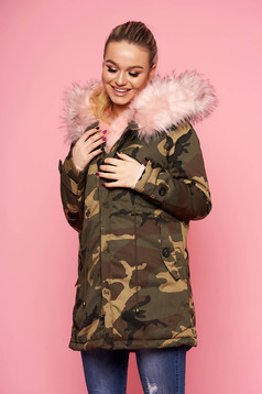 Khaki jacket casual with front pockets short cut midi long sleeved with furry hood