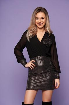 Dress gold short cut occasional wrap over front with sequin embellished details with v-neckline