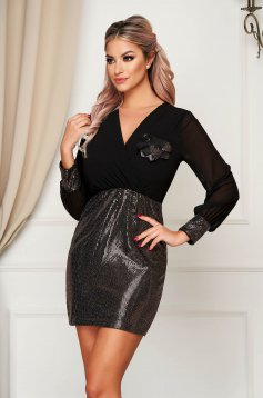 Dress gold short cut occasional wrap over front with sequin embellished details with v-neckline