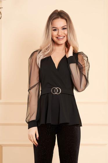 Bluza dama SunShine neagra eleganta cu decolteu petrecut cu maneci lungi transparente accesorizata cu o catarama