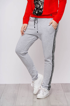 Trousers grey casual cotton straight with pockets with elastic waist