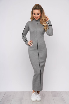 Grey dress casual daily long pencil with turtle neck knitted arched cut