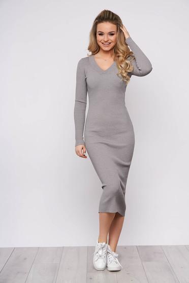Rochie SunShine gri casual de zi din material tricotat cu un croi cambrat cu maneci lungi si decolteu in v