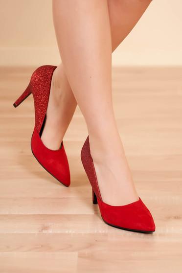 Pantofi rosu elegant din piele ecologica cu toc inalt si aplicatii cu sclipici