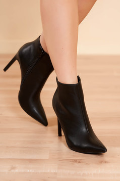 Ankle boots black elegant from ecological leather with high heels side zip fastening