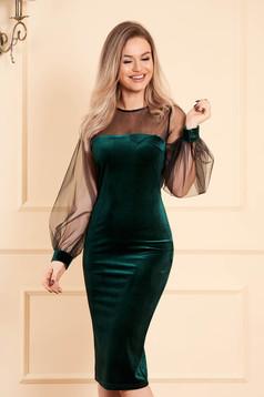 Green dress occasional midi pencil velvet long sleeved transparent sleeves