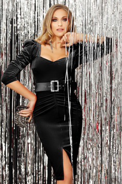 Black dress occasional high shoulders with v-neckline with 3/4 sleeves slit velvet