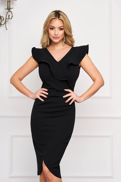 StarShinerS black dress elegant with tented cut with a cleavage sleeveless frilly trim around cleavage line