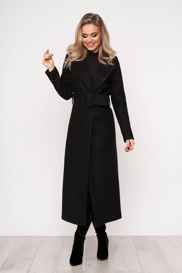 Palton SunShine negru casual elegant cu un croi cambrat fara captuseala