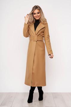 Palton SunShine maro casual elegant cu un croi cambrat fara captuseala