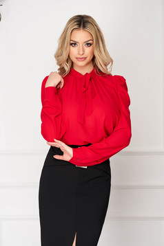Red women`s shirt office long sleeved from veil fabric short cut flared