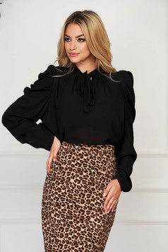 Black women`s shirt office long sleeved from veil fabric short cut flared
