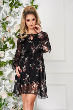Black women`s blouse with elastic waist with ruffled sleeves daily short cut from veil fabric