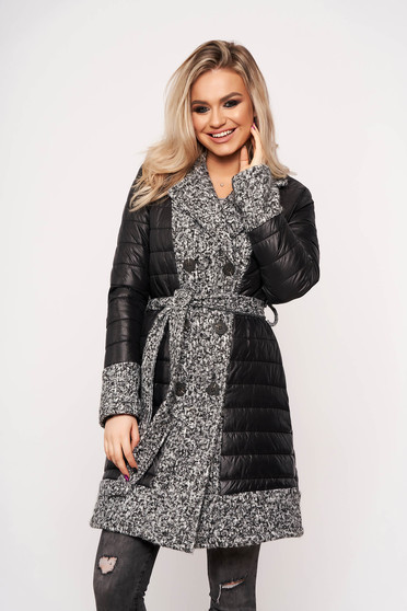 Geaca SunShine gri casual eleganta din fas cu insertii de lana accesorizata cu un cordon detasabil cu buzunare