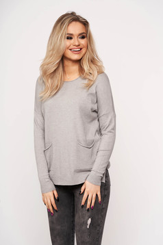 Grey women`s blouse with pockets with round collar casual thin fabric