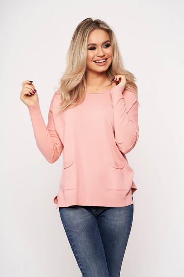 Bluza dama SunShine roz casual din tricot subtire cu buzunare in fata cu guler rotunjit