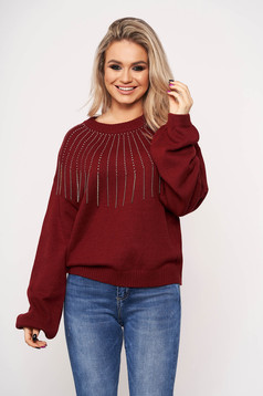 Burgundy sweater long sleeve with crystal embellished details with rounded cleavage accessorized with chain casual