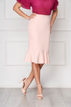 StarShinerS peach office pencil skirt with ruffle details midi flexible thin fabric/cloth
