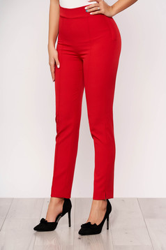 Pantaloni StarShinerS rosii office conici din stofa elastica cu talie inalta si buzunare