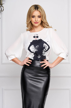 StarShinerS white women`s blouse elegant short cut flared from veil