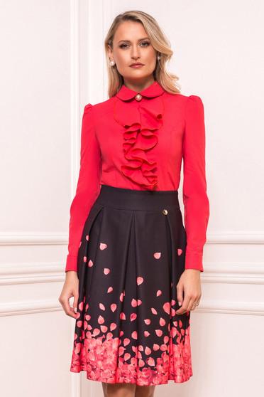 Fusta PrettyGirl roz in clos eleganta cu imprimeuri florale si buzunare