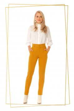 Trousers mustard office conical high waisted accessorized with belt