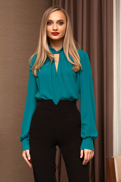 Turquoise women`s blouse office cut-out bust design short cut from veil fabric flared