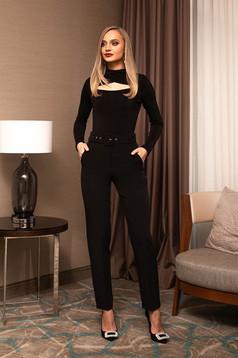 Pantaloni PrettyGirl negri office conici cu talie inalta cu accesoriu tip curea