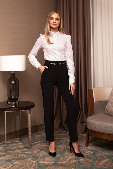 Pantaloni PrettyGirl negri office din stofa cu un croi drept si accesoriu metalic