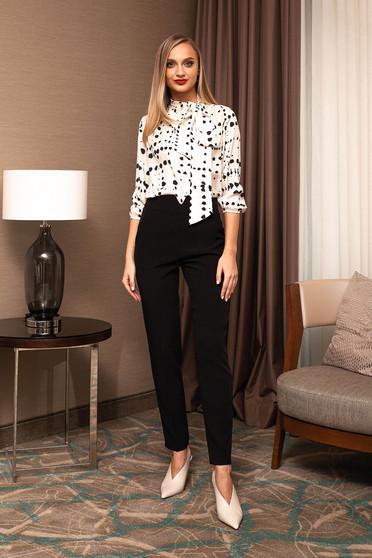 Pantaloni PrettyGirl negri eleganti office din stofa cu talie inalta si croi cambrat
