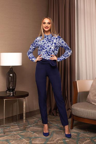 Pantaloni PrettyGirl albastru-inchis office cu talie inalta care se leaga cu fundita