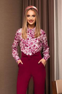 Camasa dama PrettyGirl roz office cu imprimeuri florale