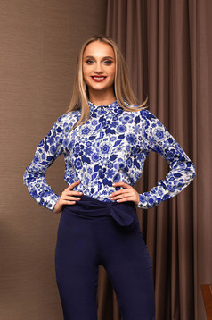 Blue women`s shirt office with floral prints