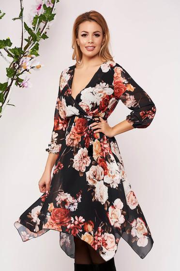 Rochie SunShine mustarie scurta eleganta asimetrica in clos din voal cu decolteu in v cu maneci trei-sferturi si imprimeu floral
