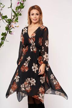 Rochie SunShine maro scurta eleganta asimetrica in clos din voal cu decolteu in v cu maneci trei-sferturi si imprimeu floral