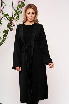 Cardigan SunShine negru elegant din material vaporos cu maneci lungi si gluga nedetasabila