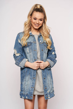 Blue jacket casual midi denim with ruptures long sleeved with buttons
