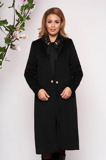 Trench SunShine negru elegant lung din lana cu un croi drept cu buzunare false captusit pe interior
