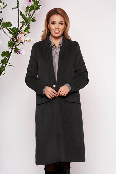 Trench SunShine gri elegant lung din lana cu un croi drept cu buzunare false captusit pe interior