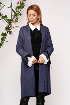 Blue cardigan elegant long knitted with bow accessories with front pockets