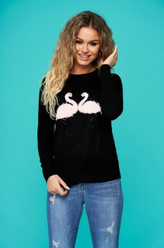 Black sweater casual short cut with easy cut knitted with faux fur details neckline
