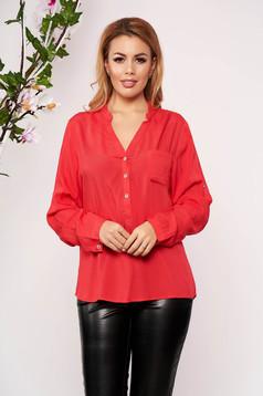 Camasa dama SunShine rosie office scurta din material subtire cu decolteu in v cu maneci lungi si un buzunar in piept