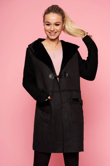 Cardigan SunShine negru casual lung din material tricotat cu gluga imblanita si buzunare