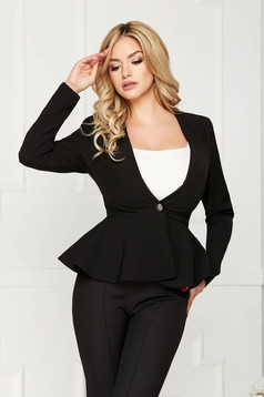 StarShinerS black jacket elegant short cut cloth slightly elastic fabric long sleeved with inside lining