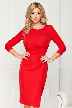 StarShinerS red dress office midi pencil slightly elastic fabric pleats at the bust slit
